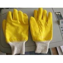 Muñeca de punto, látex amarillo guantes de trabajo de seguridad completamente recubiertos (L032)