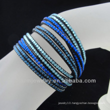 Leather wrap rhinestone bracelet 2015