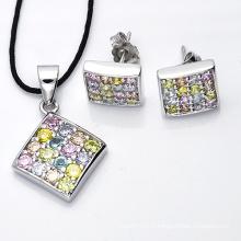 Ensemble de bijoux en argent 925 Multil Color Set pour jeunes filles.