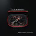 Hot Sale Black Fiber Zipper Hard Headphones Earphone case Storage Carrying Pouch bag Square