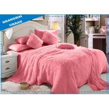 6 Stück Pink Faux Pelzdecke mit Bettwäsche Set