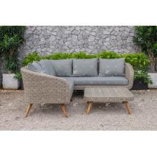 Ensemble de canapé composable simple en poly rotin avec pattes de bois en acacia / teck pour meubles de jardin extérieur