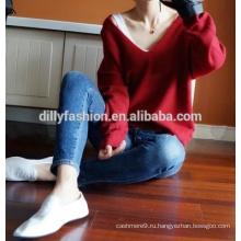 Мода Кашемировый свитер женщин глубокий V шеи свитер свободный свободный вязать свитер