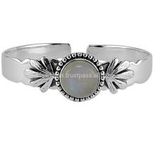 925 Plata esterlina diseño hecho a mano con piedras preciosas Moonstone piedras preciosas encanto brazalete ajustable joyas