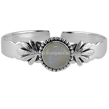Conception à la main en argent sterling 925 avec Rainbow Moonstone Gemstone Charm Bangle Adjustable Jewellery