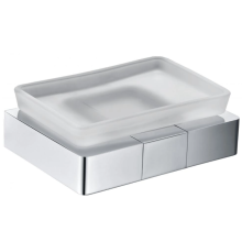 Frosted glass soap dish for household use