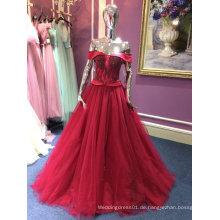 Eine Linie / Prinzessin Abendkleid für Hochzeit mit Perlen Mieder