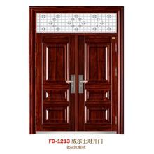 China Puerta de entrada del proveedor de puerta de acero Puerta de puerta de metal del hierro (FD-1213)