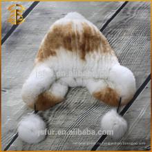 Последний стильный пользовательский Boonie ручной вязания крючком милый кролик меховой шлем