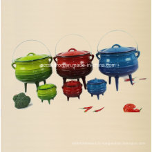 # 2, # 3, # 4, # 5 pot en pot en pot en pot d'émail avec trois jambes / chaudron