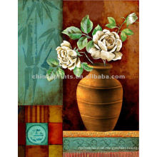 Vaso de flor ainda vida clássica pintura a óleo