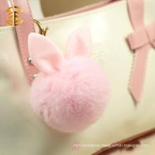 Lovely Pink Color Rabbit Fur Ball Bag Pendant Fur Pompom Keychain Keyring