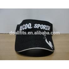 Hochwertige Sport Sonnenblende Kappen Baumwollgewebe 3D Stickerei Sonnenblende Hut