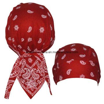 China Factory Produce Customized Logo Printed Promotional Sports Cotton Red Paisley Biker Bandana Cap