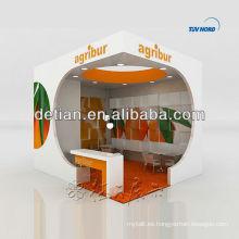 La exhibición de madera del diseño u de la forma representa la exhibición de la cabina de la exhibición del contratista de la feria
