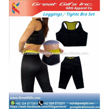 Ladies push up sports bra and tight comfort yoga compress long tops legging set