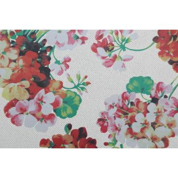 Flower Print Pu Leather