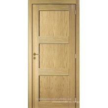 Roble inacabado cuarto interior enchapado 3 panel de diseño de madera moderno de la puerta