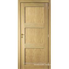 Unfinished interior room oak veneered 3 panel modern wood door design