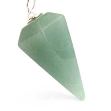 6 Side coin Shape Green Aventurine pendant 30*20mm