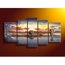 African Art Sunrise Landscape Oil Painting on Canvas (AR-104)