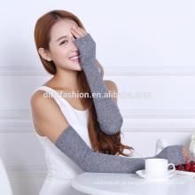 2016 novo design cotovelo inverno sem dedos 100% luvas de caxemira padrão de tricô atacado
