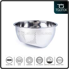 23cm Taper Bottom Stainless Steel Perforated Rice Sieve/Metal Colander