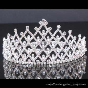 Coronas de cristal de la corona de la tiara del Rhinestone de la corona de la boda