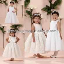 HF2009 Baby pink sleeveless satin top tea length handmade rose flower skirt ball gown zipper back fancy dresses for girls