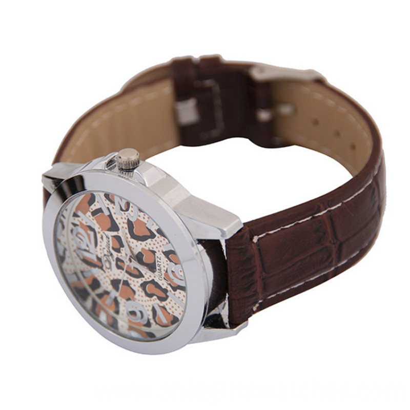 leopard print quartz watch for ladies