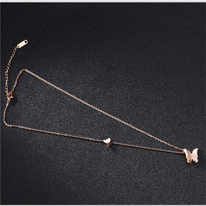 LB0804N-RG-Butterfly Choker Pendant Necklace for women (12)