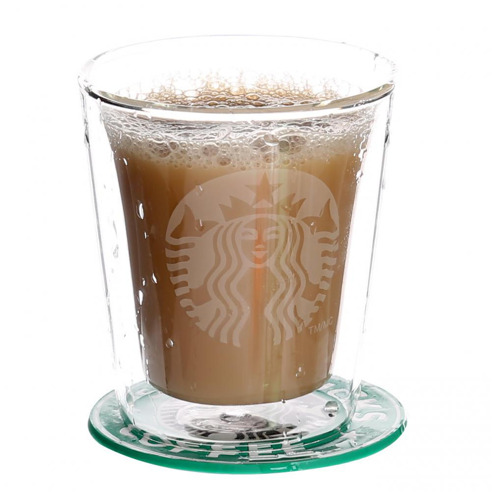 Double Wall Custom Glass Mug For Cappuccino
