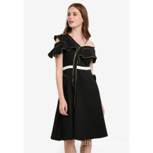 Asymmetric Neckline Dress One-Shoulder Dress with Metallic Piping