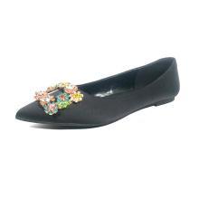 Flat girl fashion pointed toe comfortable black satin with big diamond ornament dress women shoes