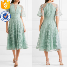 Graceful Guipure de encaje y tul verde manga corta Midi vestido de verano fabricación al por mayor de prendas de vestir de las mujeres de moda (TA0321D)