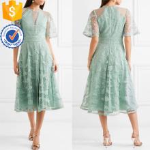 Graceful Guipure Dentelle Et Tulle Vert À Manches Courtes Midi Summer Dress Fabrication En Gros Mode Femmes Vêtements (TA0321D)