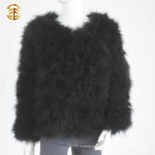 Прекрасная меховая одежда Турция Перо Пальто Короткие куртки Женщины