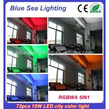 72pcs x 15w rgbwa 5in1pro ip65 luminária de iluminação exterior
