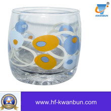 High Quality Clear Glass Cup with Printings Glassware Kb-Hn0398
