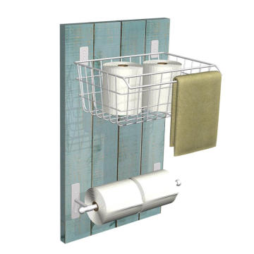 Metal and Wood Bathrom Wall Organizer Holder and Tissue Paper Holder