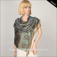 2016 Autumn/Winter shawl hijab and pashmina with yarn dyed paisley pattern scarf