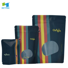 custom digital printed matte stand up plastic pouches with window
