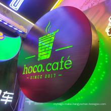 Custom Round Coffee shop metal decoration led luminous advertising  light box sign Hanging Sign wall mount