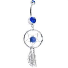 Anel azul do botão do ventre de Dreamcatcher do nativo americano