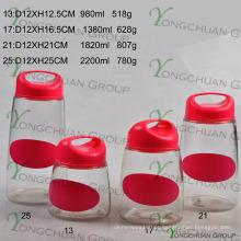 4 PCS Glass Container Set com tampa de plástico Handle com cor Black Board Decal