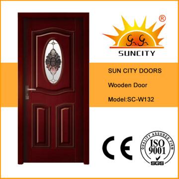 Современный интерьер деревянная дверь со стеклянными конструкциями (СК-W132)