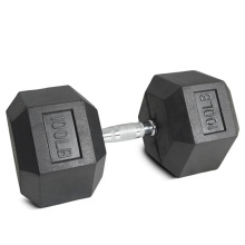 100LB Black Rubber Hex Dumbbell