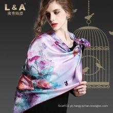 Multicolour 100% Seda Stain Luxo cachecol