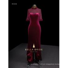 Vestido de noche de mujer elegante de terciopelo de Hi-lo con colmillo de cola de pez