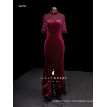 Hi-lo elegant velvet woman evening dress with fishtail hemline